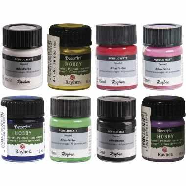 Voordeelset van 8x verschillende kleuren acrylverf/hobbyverf 15 ml per potje