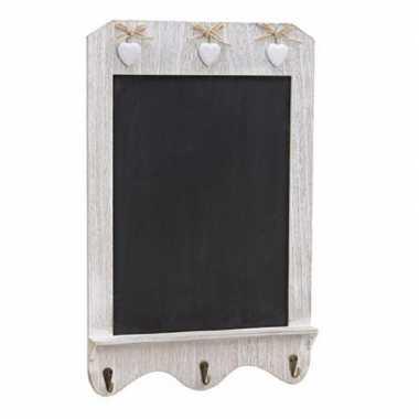 Wit houden memo wandbord met krijtvlak en haakjes 33 x 52 cm