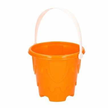 Zandkasteel emmer/strandemmertje oranje 18 x 16 cm speelgoed