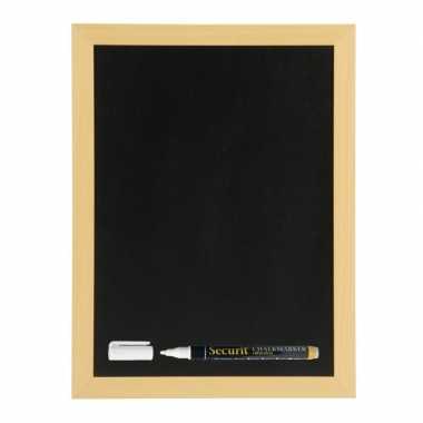 Zwart schrijfbord met teak houten rand 40 x 60 cm