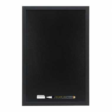 Zwart schrijfbord met zwarte rand 30 x 40 cm