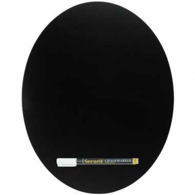 Zwart schrijfbord ovaalvorm 30 x 38 cm