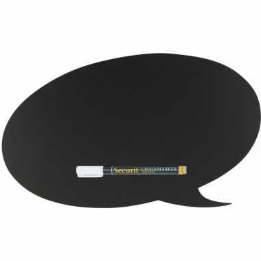 Zwart schrijfbord tekstwolk vorm 47 x 27 cm