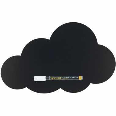 Zwart schrijfbord wolk vorm 49 x 30 cm