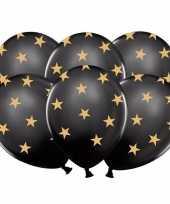 18x nieuwjaar ballonnen zwart met gouden sterren