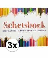3x tekenboeken a4 papier met tekenpapier