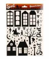3x vel met sinterklaas decoratie stickers voor op het raam zwart