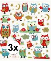 3x velletjes uilen thema vogel kinder stickers