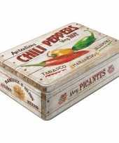 Chili peppers bewaarblik van metaal 23 cm
