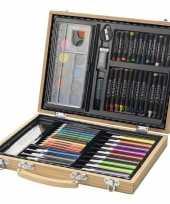 Houten koffer met kleurset
