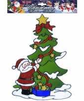 Kerstman bij boom raamsticker herbruikbaar