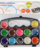 Kinder waterverf setje van 12 kleuren