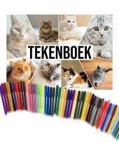 Schetsboek katten liefhebbers a4 50 paginas met 50 viltstiften