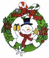 Sneeuwpop raam sticker 30 cm