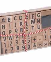 Stempelset alfabet met nummers en tekens hout 49 delig