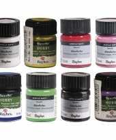 Voordeelset van 8x verschillende kleuren acrylverf hobbyverf 15 ml per potje