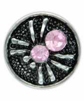 Zilveren chunk met spin roze 1 8 cm